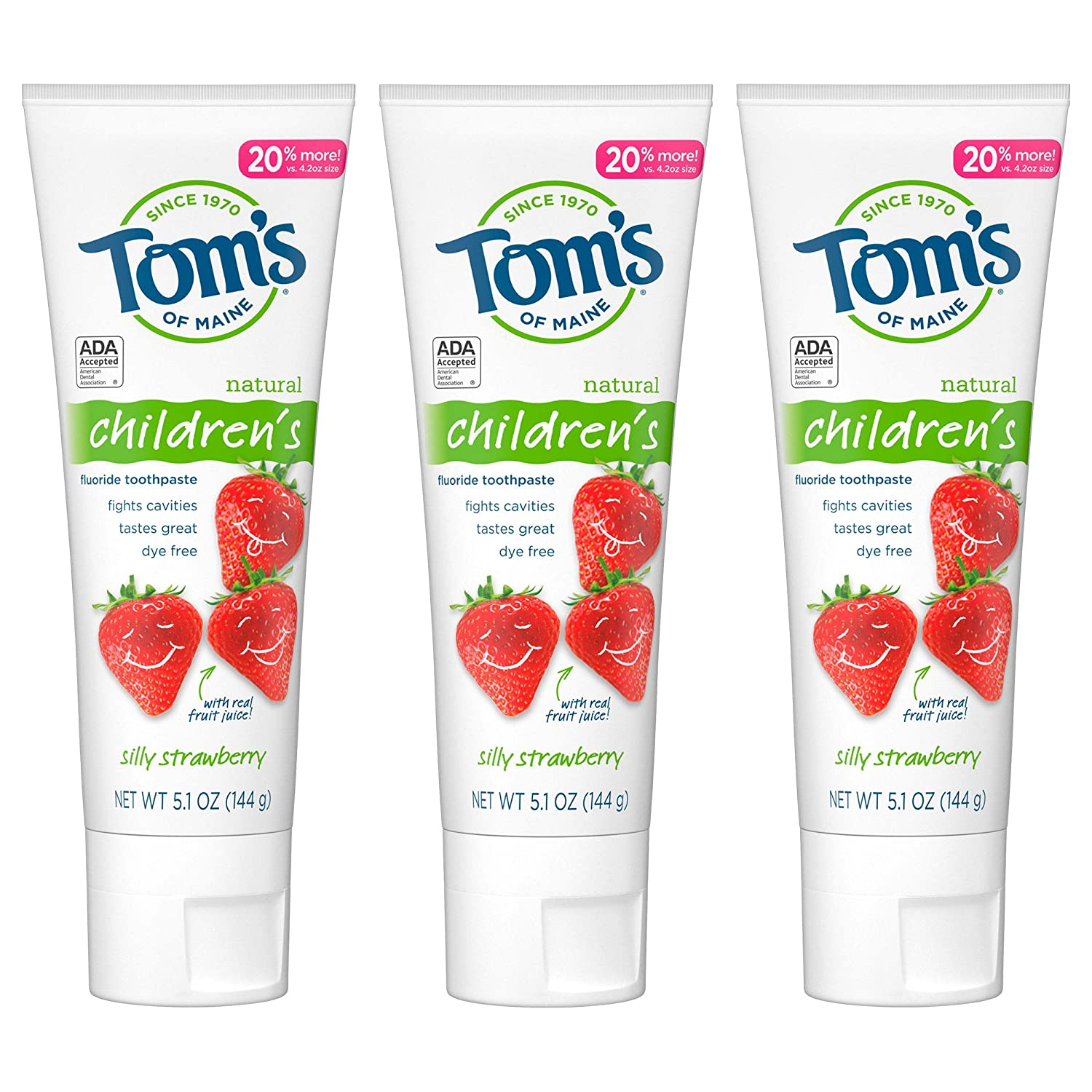Tom's of Maine Natural Children's Fluoride Toothpaste 5.1 oz - 3'lü Paket