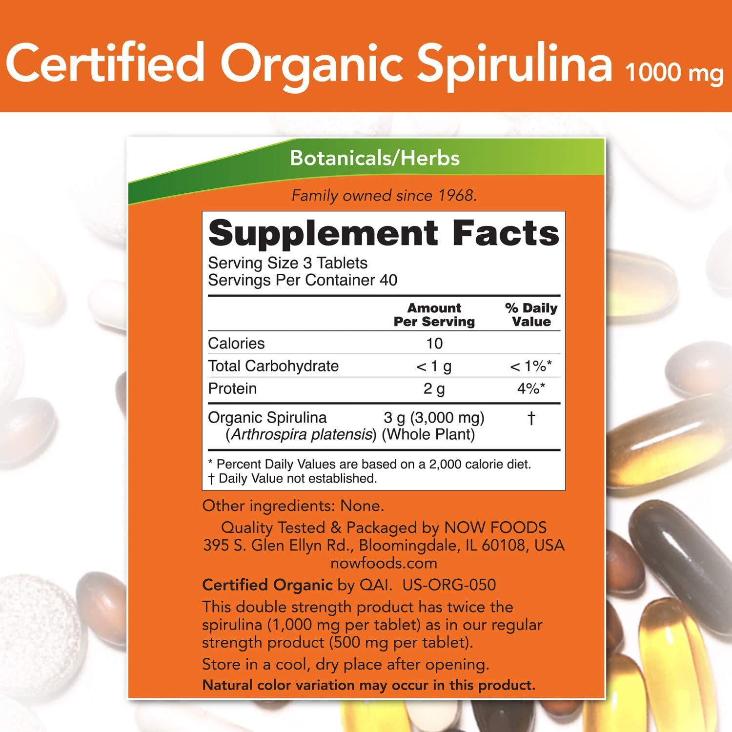 NOW Supplements Spirulina 1000 mg - 120 Tablet