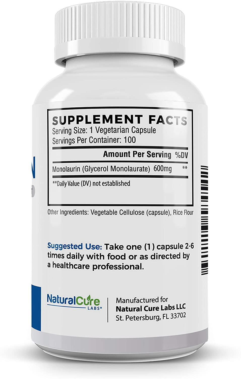 Natural Cure Labs Monolaurin 600mg - 100 Tablet