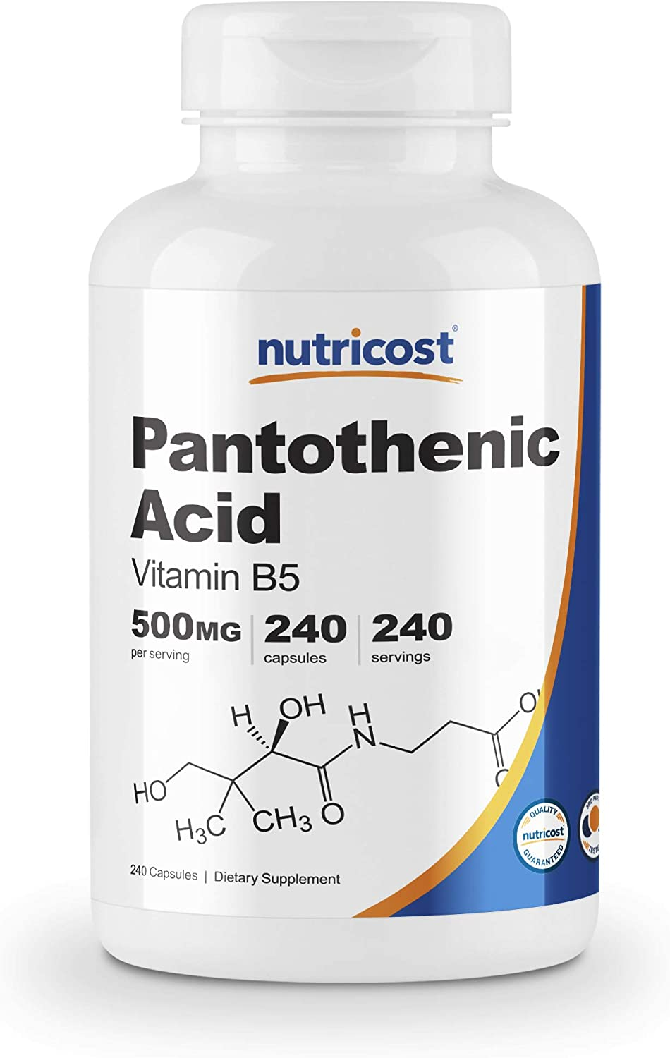 Nutricost Pantothenic Acid (Vitamin B5) 500mg - 240 Tablet