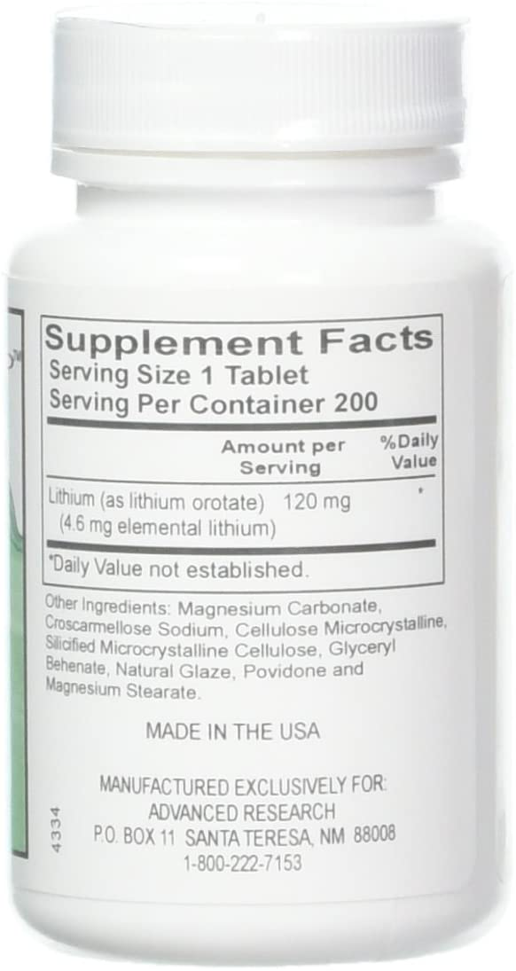 Advanced Research Lithium Orotate Tablets 120 mg - 200 Count