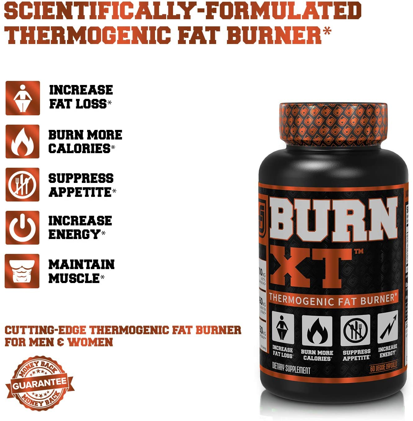Burn-XT Thermogenic Fat Burner - Weight Loss Supplement, Appetite Suppressant, Energy Booster - Premium Fat Burning Acetyl L-Car