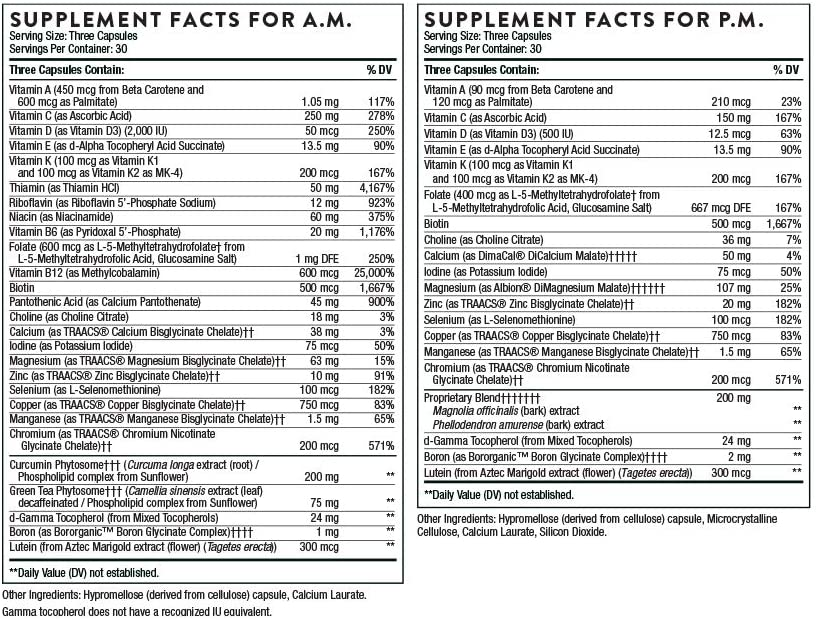 Thorne Research - Multi-Vitamin Elite A.M. and P.M. - 180 Tablet