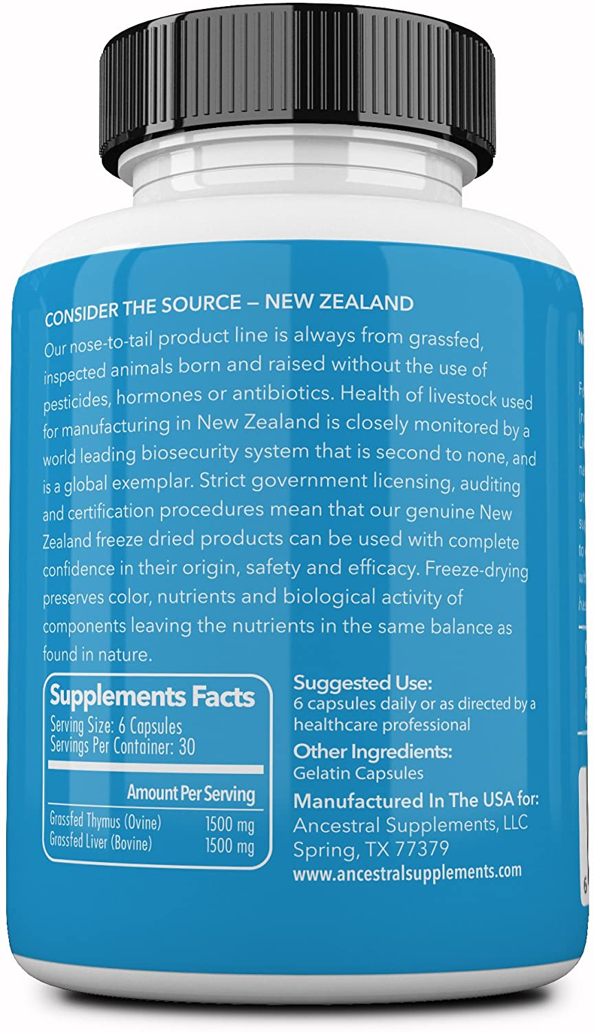 Ancestral Supplements Grass Fed Thymus Extract (Glandular) — 180 Tablet
